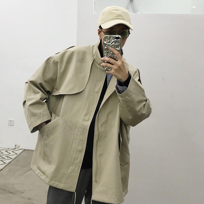 Femelle Automne Couleur Nouveau Mode Corée Zll1943 Mandarin Manteau Manches Collar De Tranchée Solide xitao Zll1943 Lâche Pleine Apricot Jupe 2018 black Femmes Z5qOfwnFW