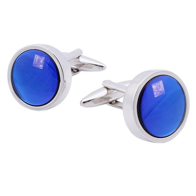 Rodada Moda Jóias Abotoaduras Masculino Francês Camiseta Lisa de Vidro Azul Com Cristal
