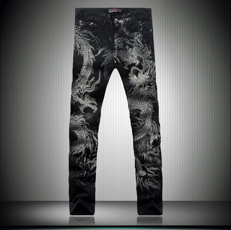 Black Dragon Print Jeans Pants 2017 Top Male Fashion Designer Brand Painted Stretch Jeans For Men Straight Slim Slacks Jeans