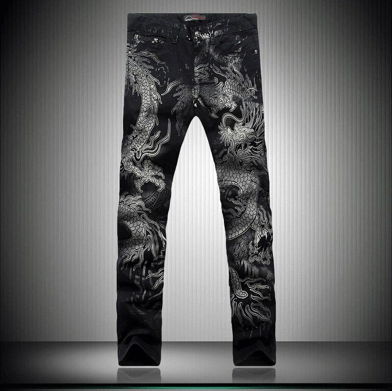 Black Dragon Print Jeans Pants 2018 Top Male Fashion Designer Brand Painted Stretch Jeans For Men Straight Slim Slacks Jeans Printed Jeans Brand Jeans For Mendesigner Jeans For Men Aliexpress
