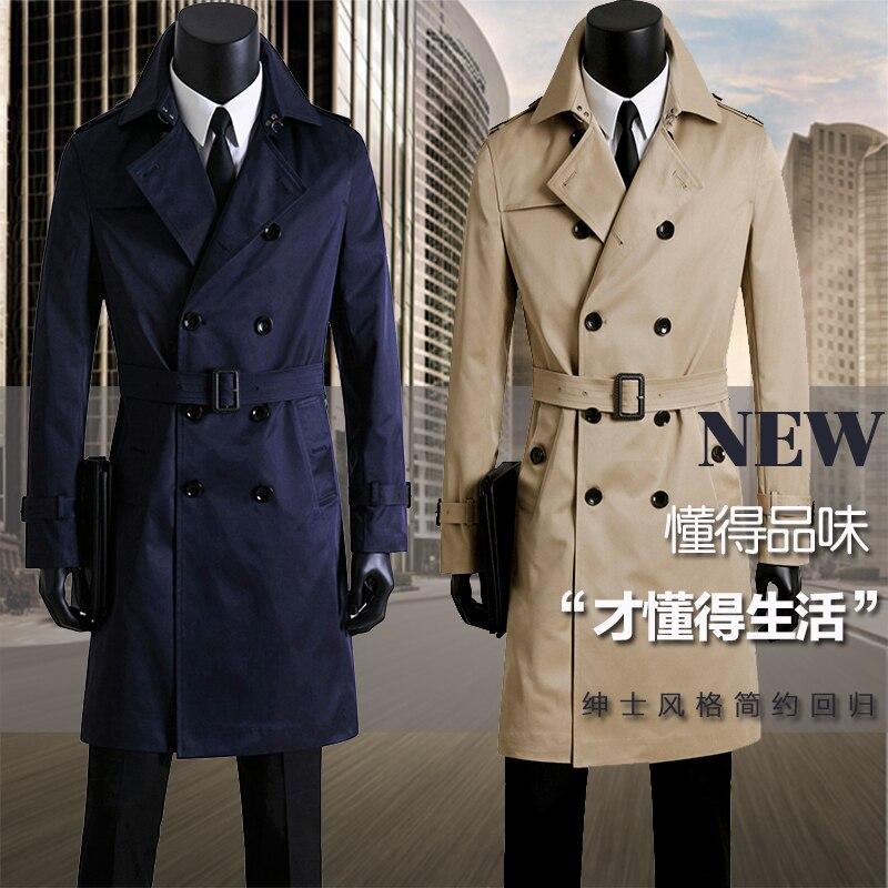 Мужская одежда весна осень, тренчи, мужское пальто, дизайнерское деловое повседневное двубортное корейское длинное пальто размера плюс