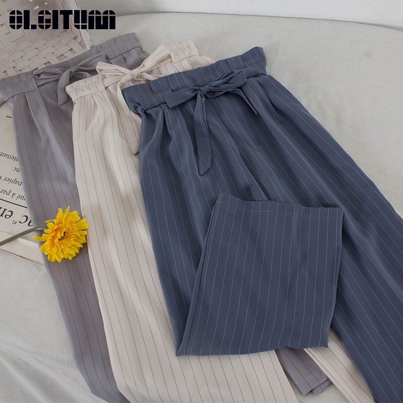 New 2019 Korean Style Drawstring High Waist   Wide     Leg     Pants   Women OL Retro Stripe Causal   Pants   for Summer Women Trousers