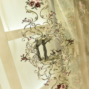 Image 5 - Top luxury jacquard 3D deer pattern curtains for living room with high quality embroidered tulle for bedroom/kitchen/hotel