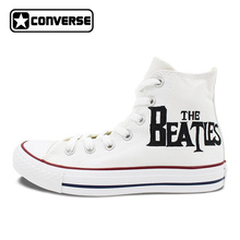 Mens Womens Converse All Star Woman Man Shoes Design Hand Painted High Top White Canvas Sneakers