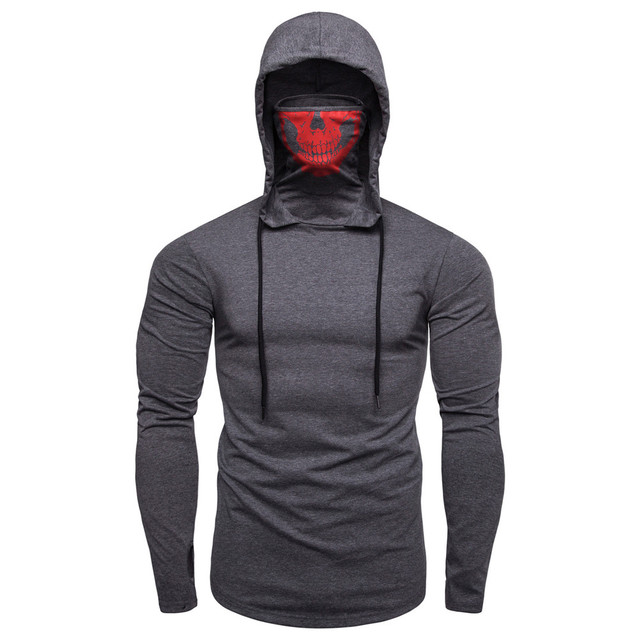 Mens Mask Skull Pure Color Pullover Long Sleeve Hooded Sweatshirt
