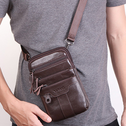 Genuine Leather Small Fanny Messenger Shoulder Bag Casual Purse Multi-Pocket