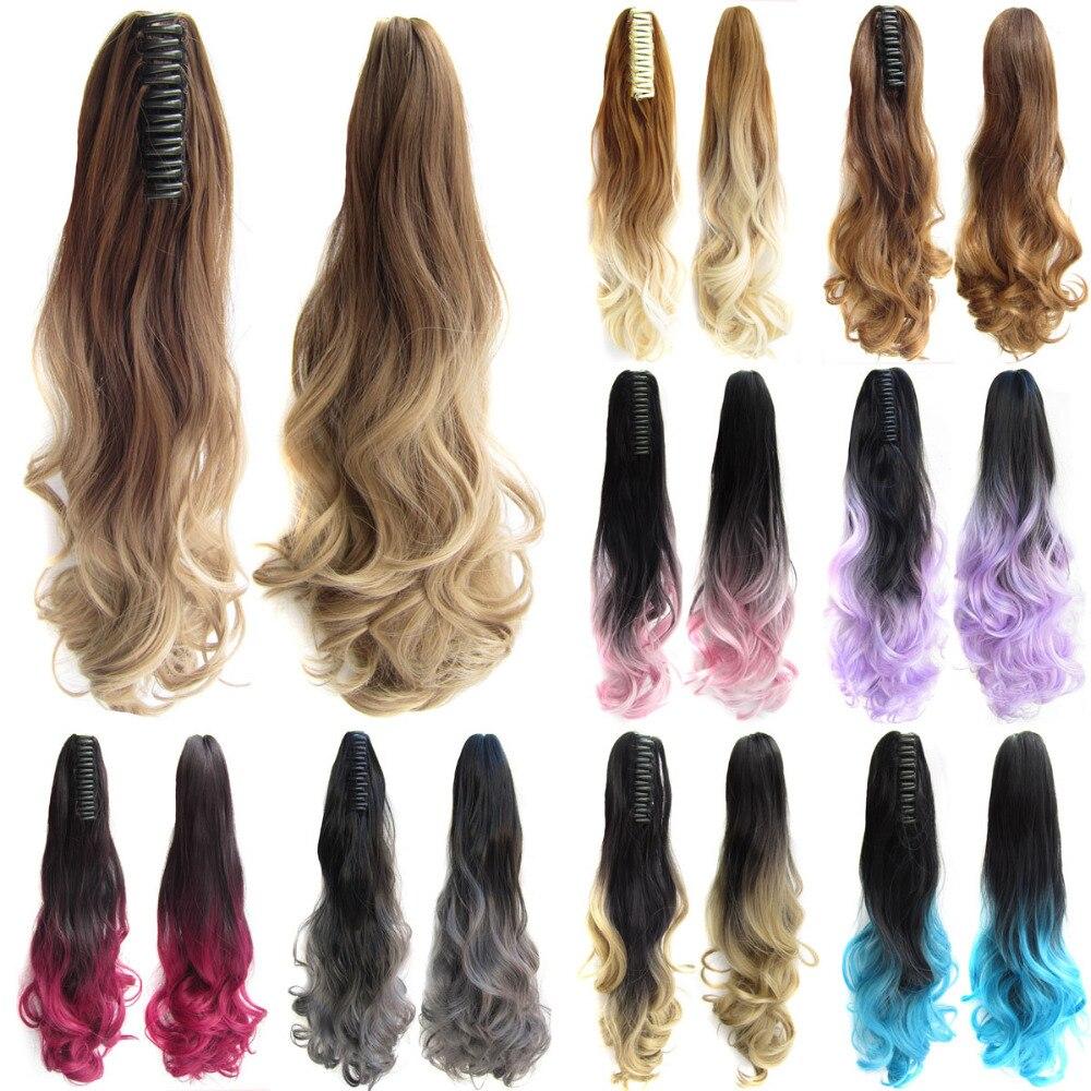 Delice 22inch Kvinnors Färgglada Ombre Vågig Hästsvans Svart Grå - Syntetiskt hår - Foto 1