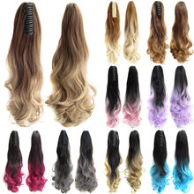 43031f6d85e Delice 22inch Women s Colourful Ombre Wavy Ponytail Black Gray Pink Synthetic  Horse Tail Hair Piece Long