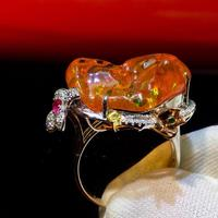 Fine Jewelry Pure Real 18K White Gold AU750 100% Natural Fire Opal Gemstone 9.6ct Female Rings for Women Fine Ring