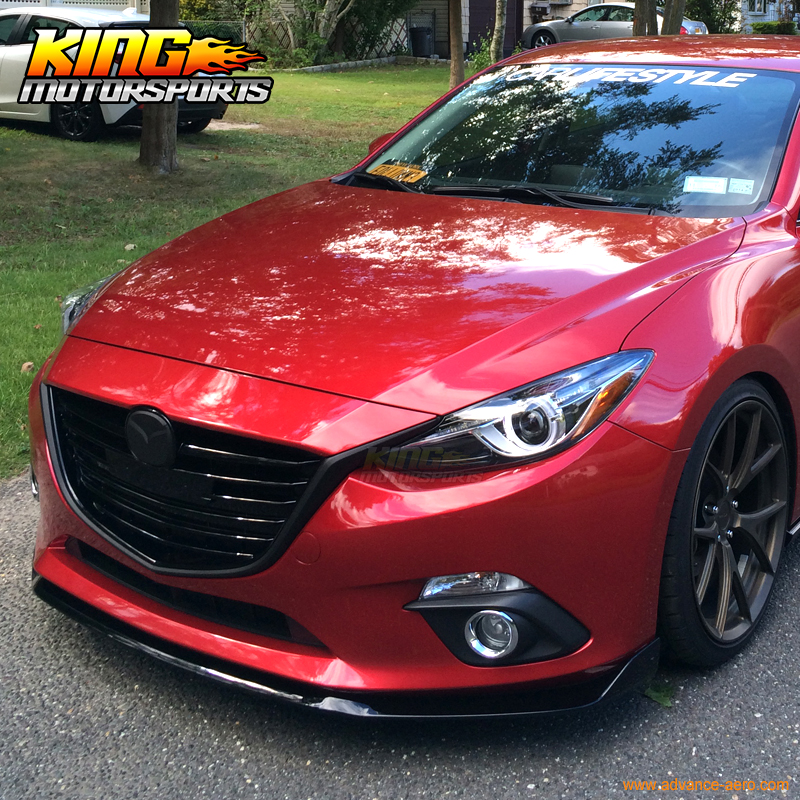For 2014 2015 2016 Mazda 3 4Dr / 5Dr Front Bumper Lip Spoiler ABS-in
