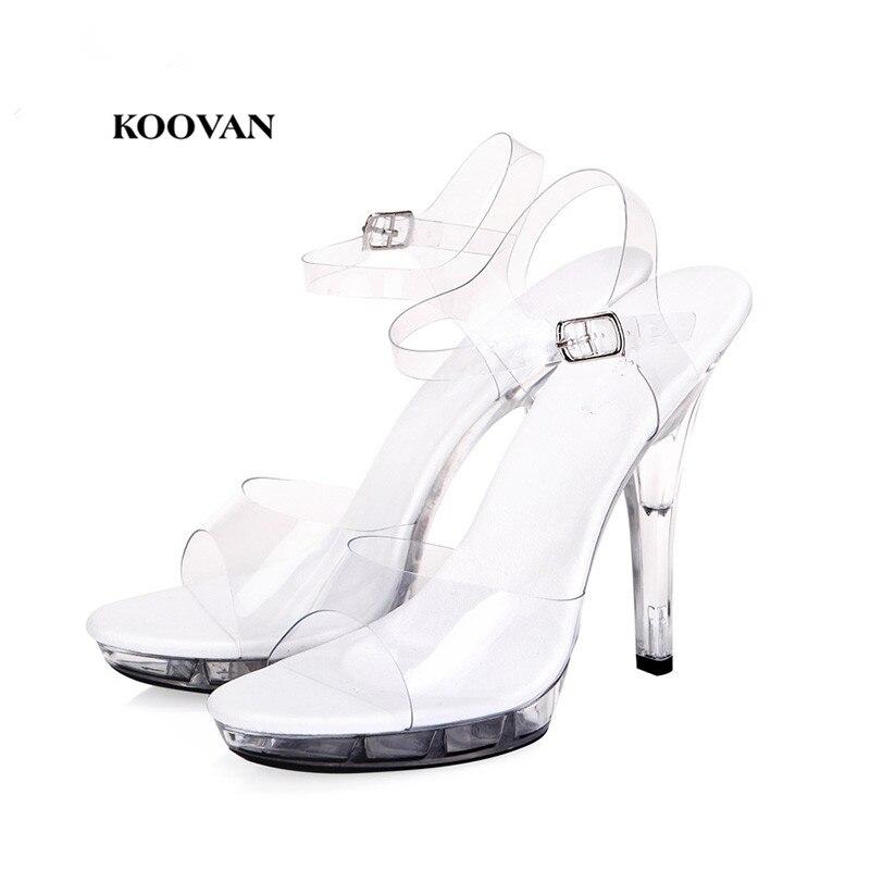 Koovan Women Pumps 2018 new Catwalk required Transparent Glass Woman Sandals Ultra High Heels Shoes 15cm Large Size 34-44 shoes woman ultra high heels 15cm platform rose sandals transparent crystal shoes wedding shoes princess shoes size 34 44