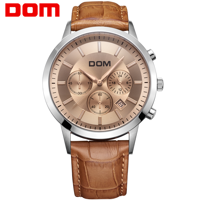 men watch Dom leather strap Brand large dial multifunctional sports waterproof genuine man watches MS-301L5M робот электронный tongde е нотка со звуком светящийся ассортимент t240 d5572