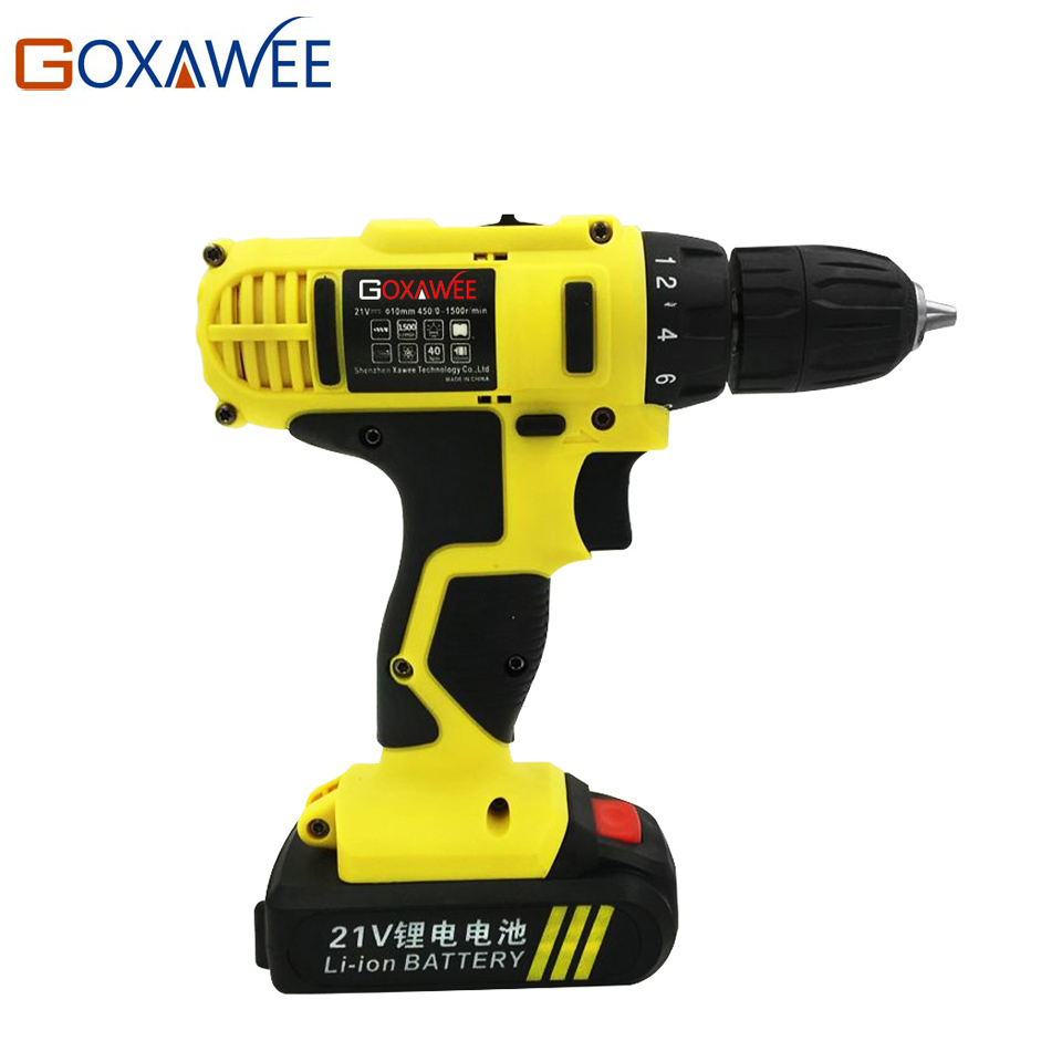 цена на GOXAWEE 21V Electric Drill Two Speed Lithium Battery Rechargeable Cordless Drill Multi-function Electric Cordless Screwdriver
