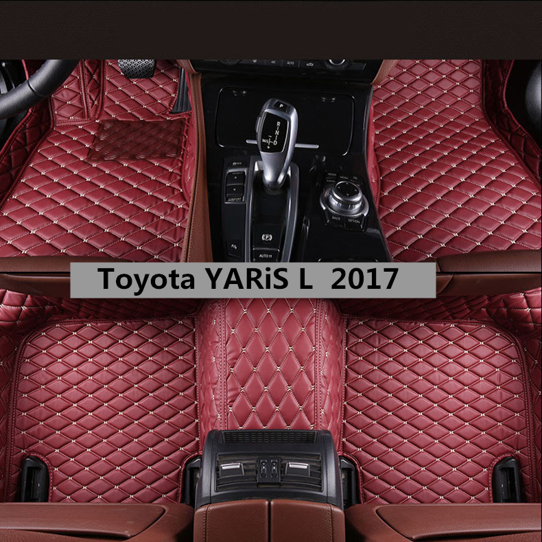 Car Floor Mats For Toyota YARiS L 2017.2018 Foot Carpets Auto Step Mat High Quality New Embroidery Leather Mats auto floor mats for honda cr v crv 2007 2011 foot carpets step mat high quality brand new embroidery leather mats