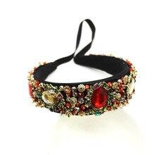 flower baroque good quality women new fashion hairband luxury crystal gem headband bridal jewelry 209
