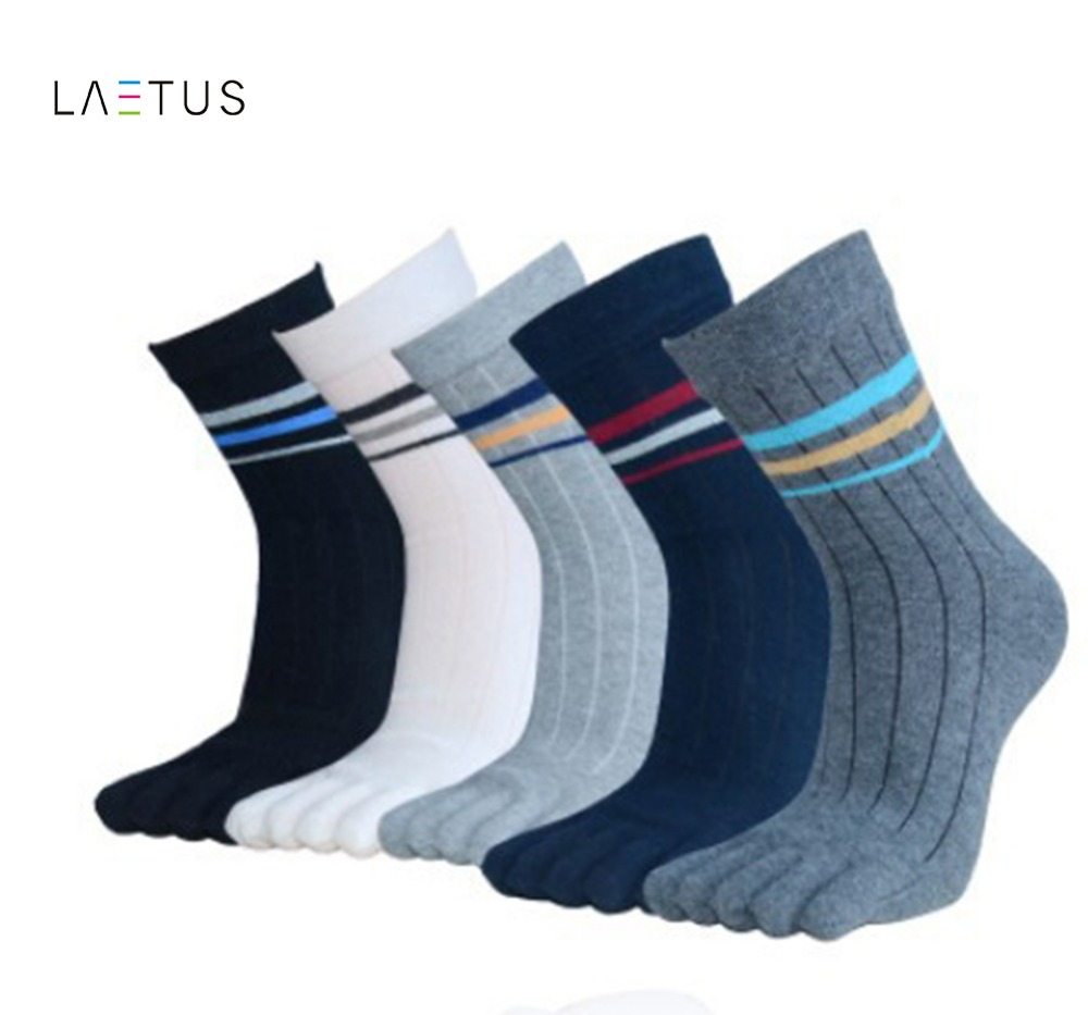 Laetus Mens Fashion Solid Color Toe Separate Socks Soft Breathable Comfortable Five Fingers Cotton Crew Dress Socks 1 Pairs