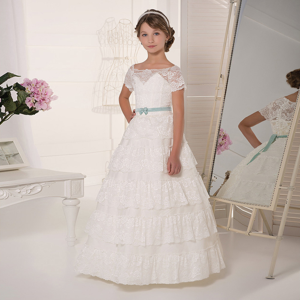 Flower Girl Dress for Weddings White Lace Sleeveless O-neck Formal Back Zipper Pageant Gowns Vestido Flower Girl Dress Hot Sale hot flower girl dress white a line bow sash sleeveless solid o neck girls first communion dress hot sale vestido de comunion