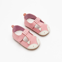 Милая кожаная обувь для маленьких девочек с рисунком лисы из мультфильма; детская обувь из натуральной кожи на резиновой подошве