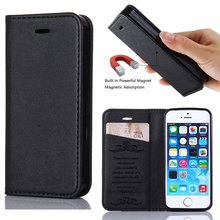 5s Case Magnet Adsorption Book Stand Card Embossing for Case iPhone 5S Leather Magnetic Flip Cover