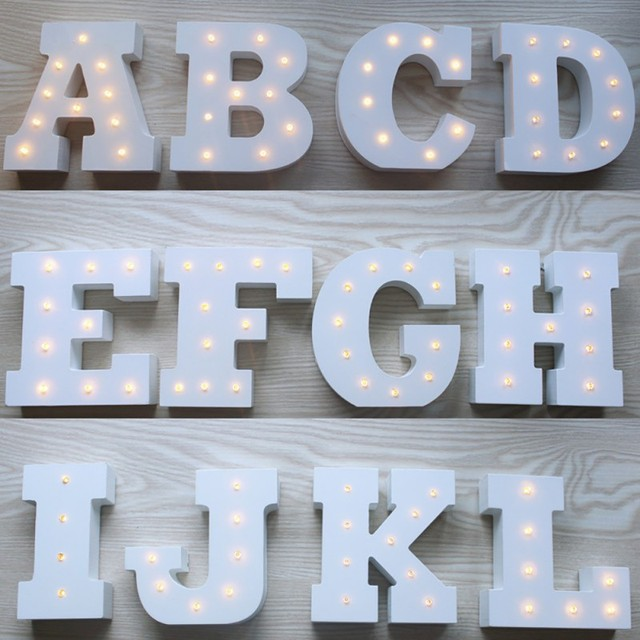 Us 93 17 Offwhite Wooden Luminous Alphabet Led Neon Plate Lighted Letters Sign For Wall Decoration Indoor Home Decoration Hot Sale In Figurines