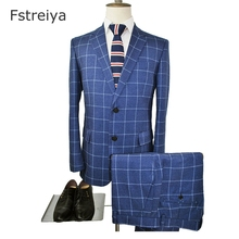 Custom Made Men Slim Fit suit customize mens clothing tailored Smart Casual blue plaid Suits with pants for wedding 3 piece