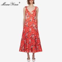MoaaYina Fashion Designer Runway dress Spring Summer Women Dress Floral-Print Beach Spaghetti Strap Dresses