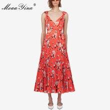 MoaaYina Moda Tasarımcısı Pist elbise Ilkbahar Yaz Kadın Elbise Çiçek Baskı Plaj Spagetti Kayışı Elbiseler