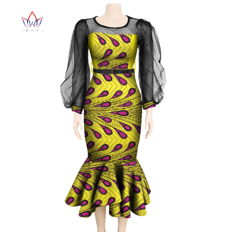 Muslin Long Sleeve Dresses For Women Party Wedding Casual Date Dashiki African Women Dresses African Dresses For Women WY4761