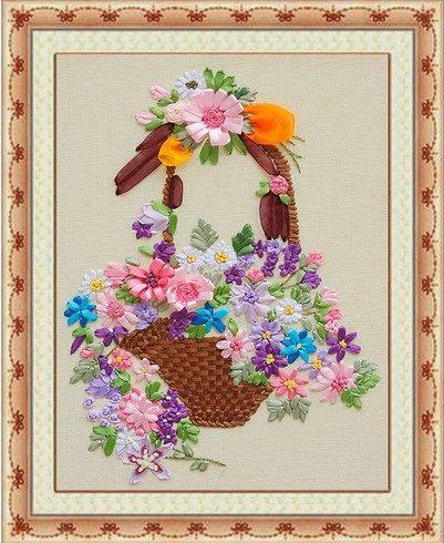 Online Shop Ribbon Embroidery Kit Flowers Bouquet Basket Diy