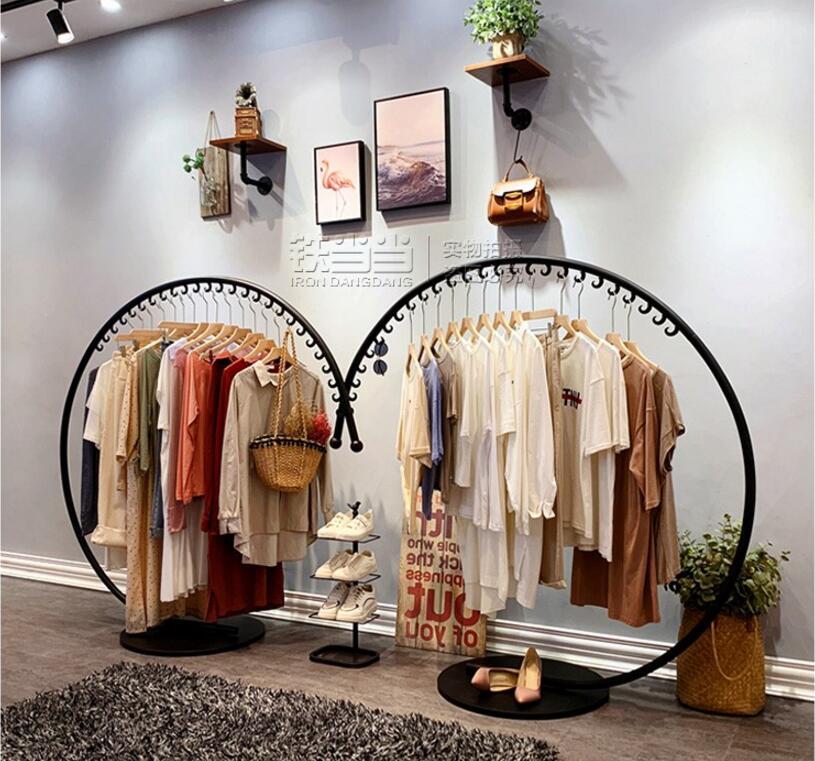 Women's clothing store rack display rack, hanging rack, Zhongdao rack, floor type clothing store rack display rack