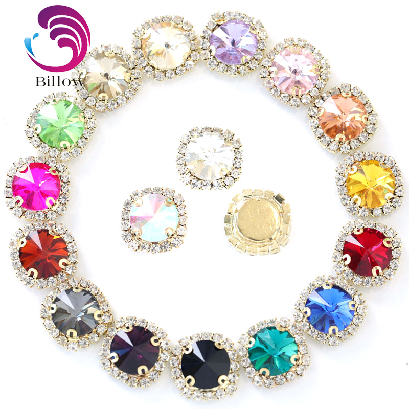 Colorful Crystal Buckle Round Sew On Rhinestones Flatback Rivoli Round Sew  On Claw Rhinestones Sewing Stones For Garmenrt B3609 ad561ce8525e