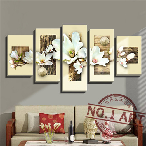 Online Shop Magnolia 5pcs Set Modern Abstract Oil Paintings Seascape Pop  Painting Wall Art Home Decor