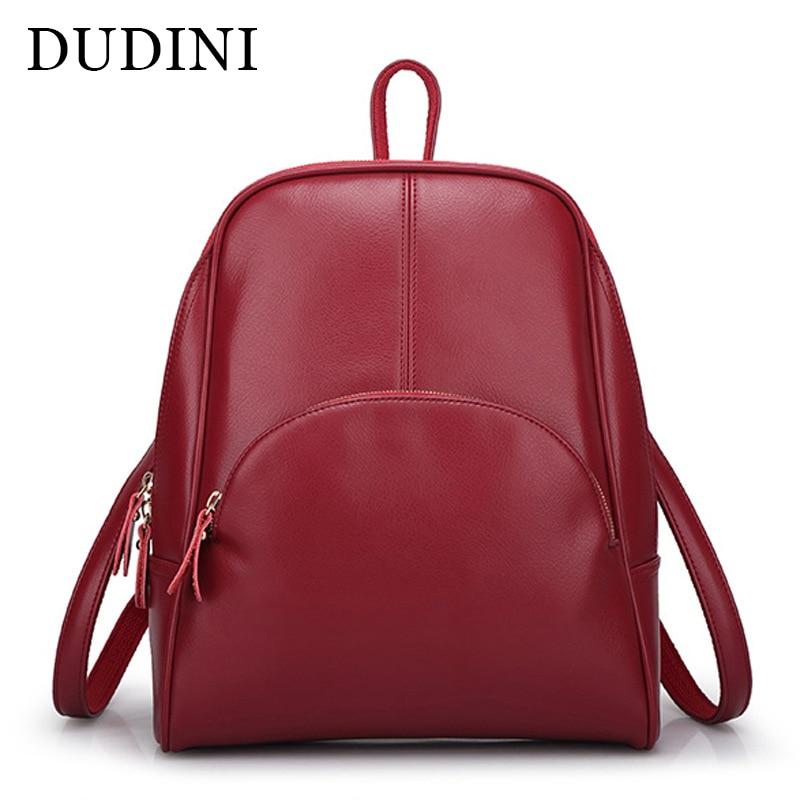 DUDINI Korean Casual Backpack Women Genuine Cow Leather Bag High Quality Women Backpack Mochila Feminina School