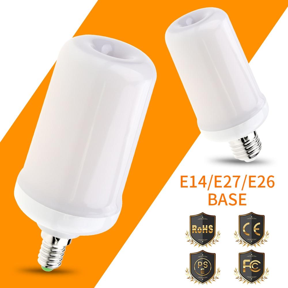 E14 LED Flame Lamps E27 Creative holiday lighting fire Light 220V LED Flame Effect Bulb E26 110V SMD2835 Two Modes Flame flicker