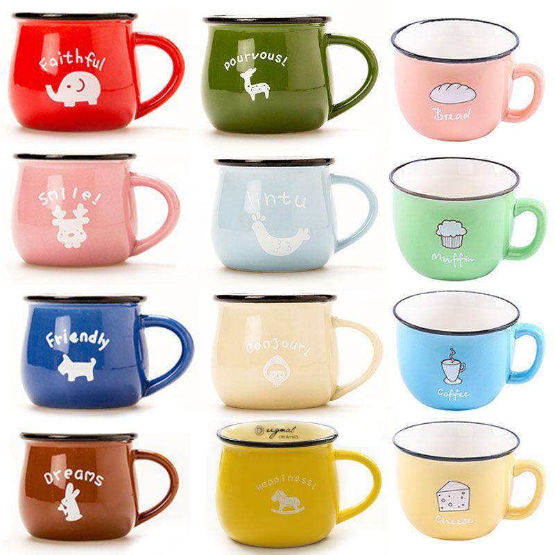5cc5f86dcbe 150ml 250ml 350ml Creative Cute Coffee Mug Heat-Resistant Cup Color Cartoon  Cup Milk Breakfast