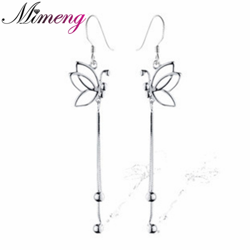 Fine jewelry 2014 NEW engagement earrings 100% Genuine 925 Sterling Pure Silver Butterfly Tassel Women earrings.TOP quality