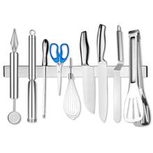 304 Stainless Steel Knife Holder Magnetic Wall Storage Rack Scissor Knives Stand Hook Kitchen Organizer Self-adhesive Holder