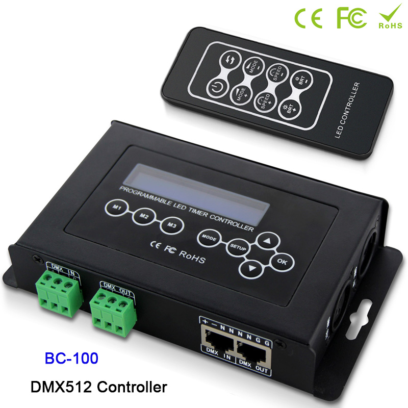 BC-100 DC9V led contrôleur RGB DMX512 signal 170 Pixels contrôleur de lumière affichage LCD + télécommande sans fil RF pour module de bande led