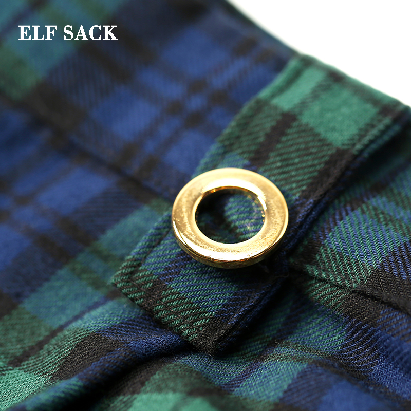 ELF SACK Autumn New Woman Pants Casual Knitted Wide Leg Pants Cotton Plaid Mid Women Full Length Femme Trousers Female Bottoms-in Pants & Capris from Women's Clothing    3