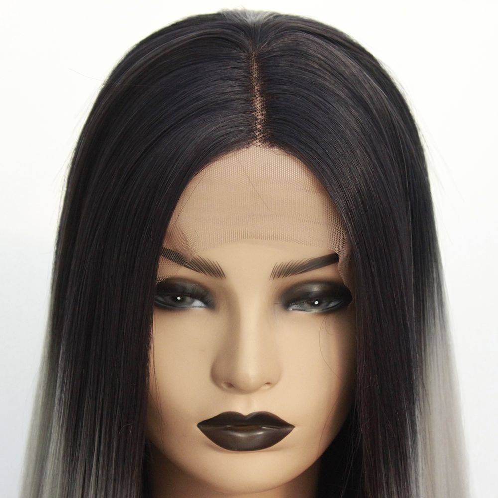 Long Middle Part Wig Ombre Grey Lace Front Wig for Women or Girls Cosplay Daily Party Heat Resistant Full Wigs Straight Real Gray Fiber Wig (Not Human Hair) Half Hand Tied-8