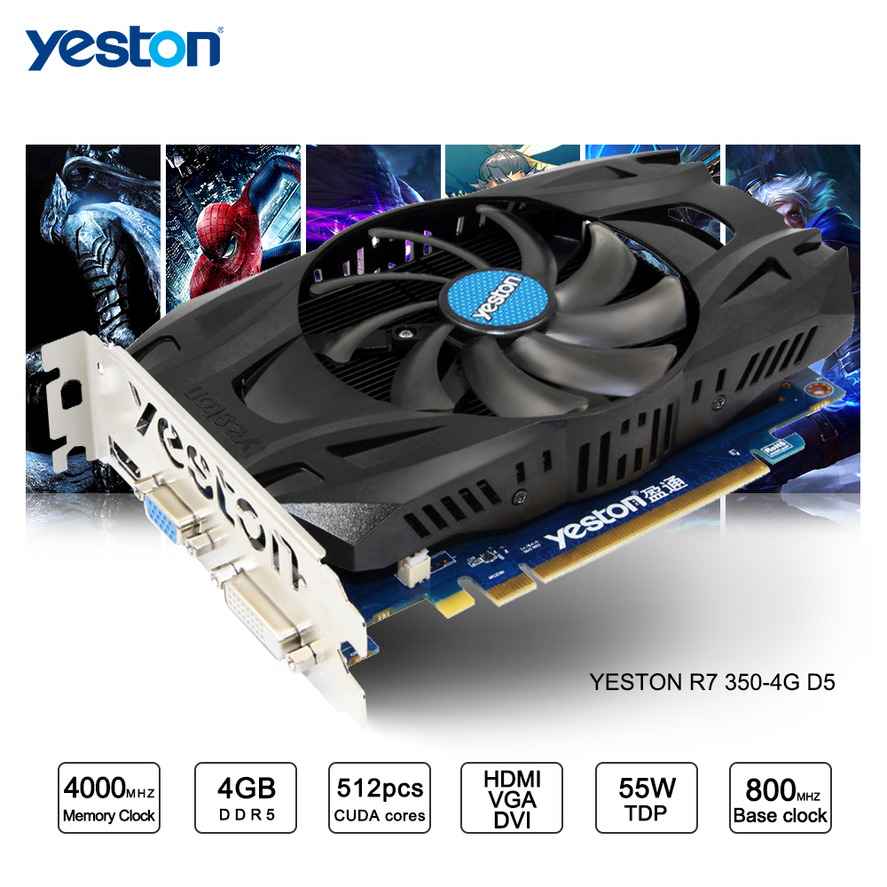 все цены на Yeston Radeon R7 350 GPU 4GB GDDR5 128bit Gaming Desktop computer PC Video Graphics Cards support VGA/DVI/HDMI онлайн