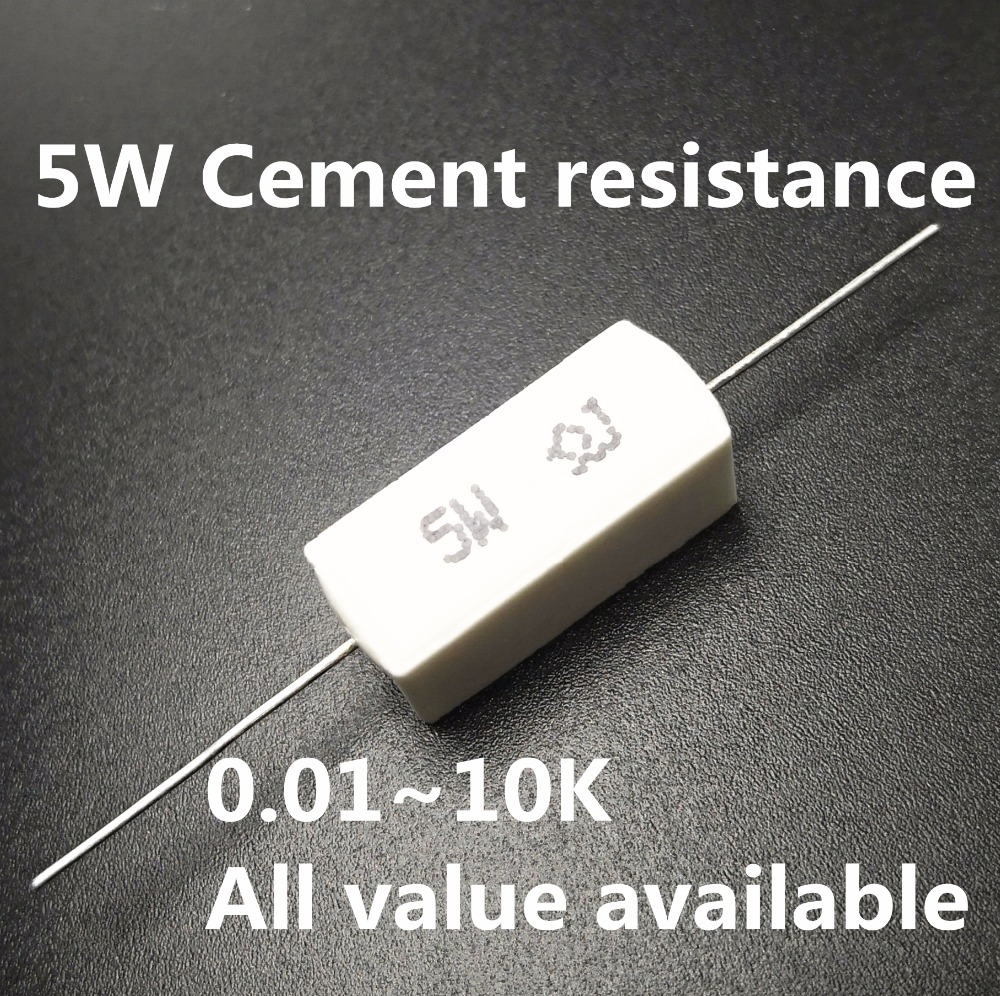 5pcs 5W 0.3 0.33 0.43 0.47 0.5 0.56 1 Ohm 0.3R 0.33R 0.47R 0.5R 0.56R 1R Ceramic Cement Power Resistance Resistor 5%