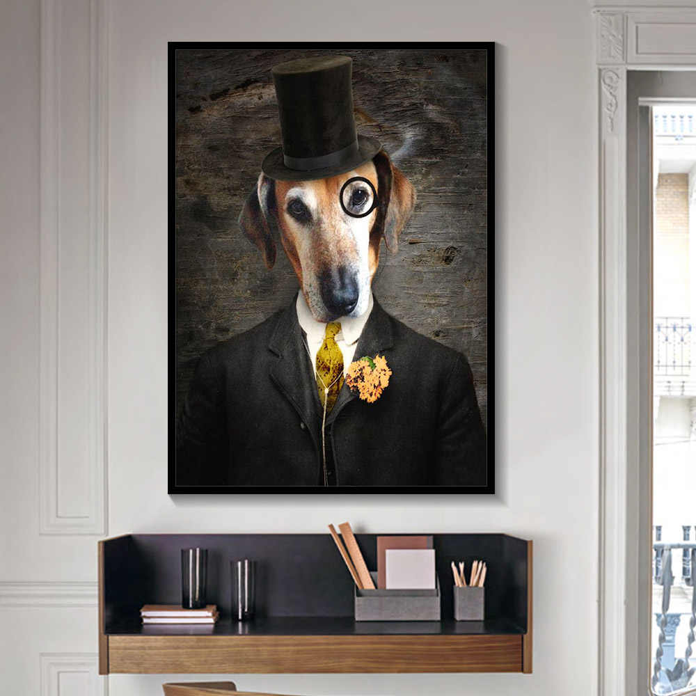 Black and White Classy Dog Cat Wolf Fox Wall Art Posters And Prints Animal Wearing a Hat Feather Canvas Painting Home Decor