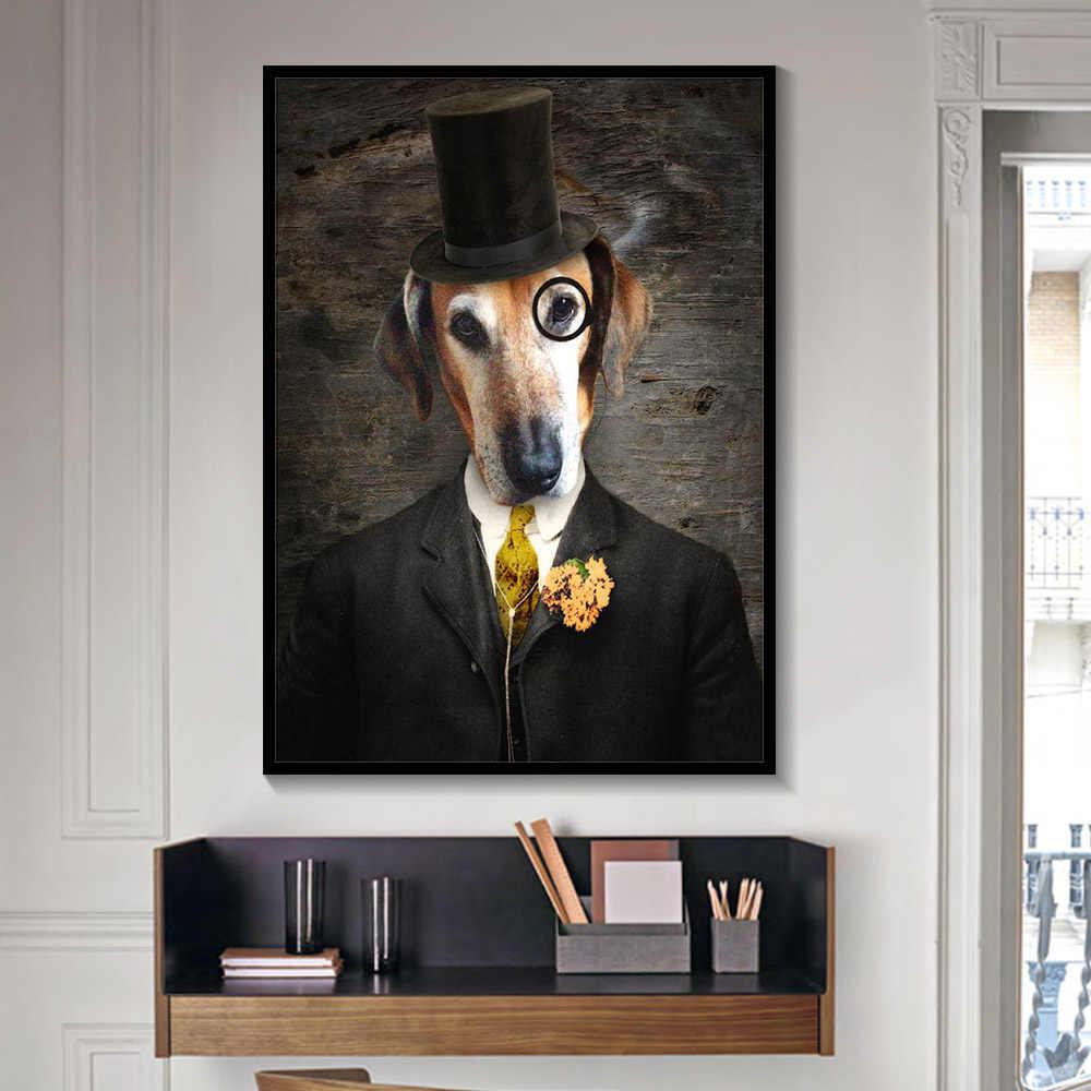 สีดำและสีขาว Classy สุนัขแมวหมาป่า Fox Wall Art โปสเตอร์และพิมพ์สัตว์สวมหมวก Feather ภาพวาดผ้าใบ home Decor