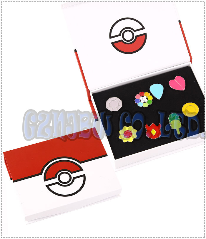 Cosplay Pokemon: Kanto League Gym Badges Set of 8 Metal Pins Gen 1 Brooch + Box Indigo/Johto/Kalos/Unova/Hoenn/Sinnoh  League