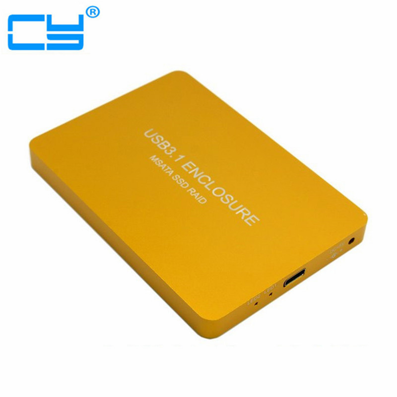 Free Shipping tracking number USB-C USB 3.1 Type C to Dual 50mm MSATA PCI-E SSD Enclosure with Raid Raid0 Raid1 or PM