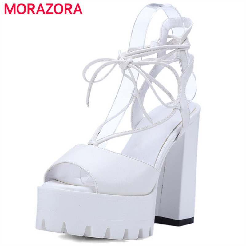 MORAZORA Ankle strap platform shoes in summer sexy lady fashion shoes woman high heels 11cm women sandals party shoes big size 32 43 fashion party shoes woman sexy high heels platform summer pumps ankle strap sandals women shoes