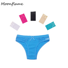 Moonflame 5 pcs/lot 2019 Hot Sale Underwear Womens Sexy Lace Cotton Briefs Panties 89040
