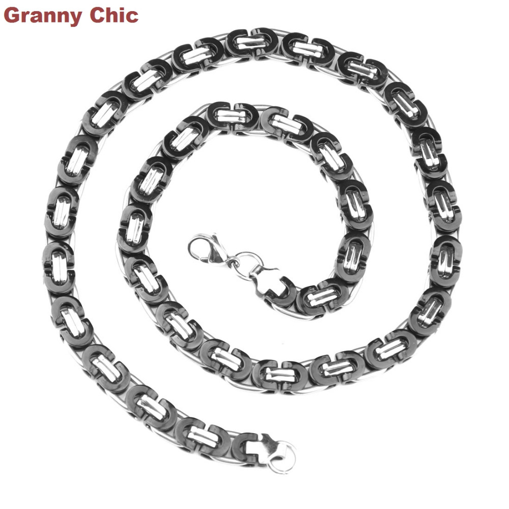 US $8 27 8% OFF|Granny Chic New Arrive Men's Jewelry Silver Black Hip Hop  Stainless Steel Flat Byzantine Handmade Necklace 8mm16