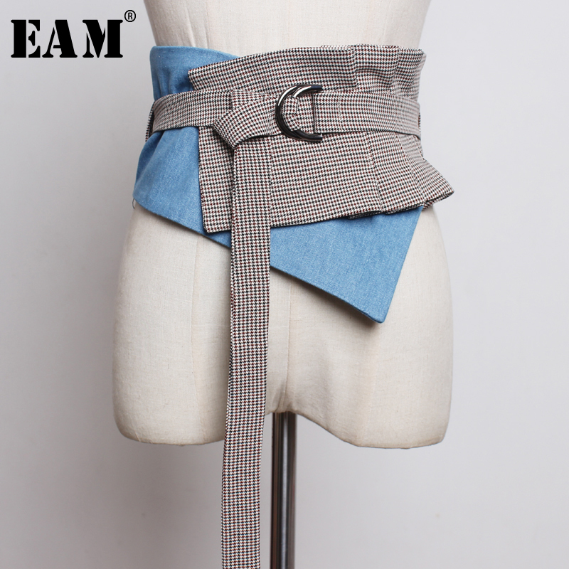 [EAM] 2020 New Spring Summer Plaid Denims Split Joint Irregular Buckle Personality Wide Belt Women Fashion Tide All-match JU007